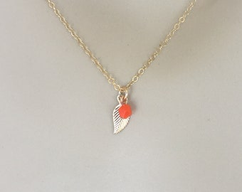 14 KT Gold Filled Leaf and Crystal Bead Necklace - Raise funds for Cancer Research