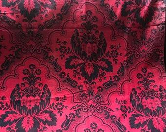 Vintage Cotton Trim Stylized Leaf on Brach Design Turkish Red /& White French
