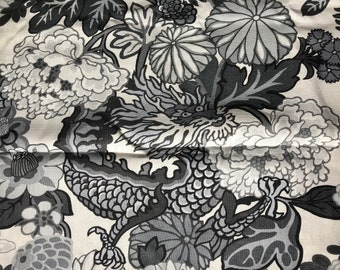 """Schumacher Chiang Mai Dragon linen fabric alabaster lovely remnant rare opportunity...54"""" x 40"""" 1m"""