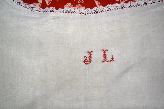 7483320645 Stunning Antique French Chemise smock Linen hand made lace