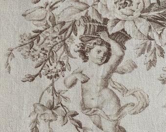 """A Beautiful Vintage toile de Jouy Period Cherubs design a linen/cotton panel 50""""/48"""""""