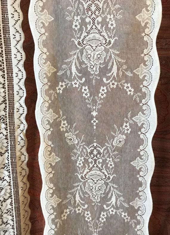 "Rennie Mackintosh 16"" Wide sidelight panelling Yardage Off Roll cotton lace Crem"
