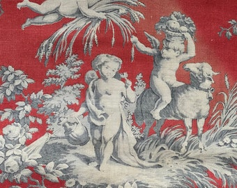 """Antique c1800 rare french red toile de Jouy...antique toile Period cotton panel fragment for project 16""""/16""""cutter"""