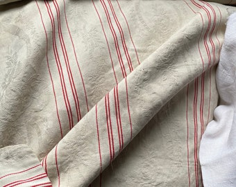 """Stunning Antique c1890 French toile a matelas red off white ticking large damask linen stripe pillow cover good condition 26""""/43"""""""