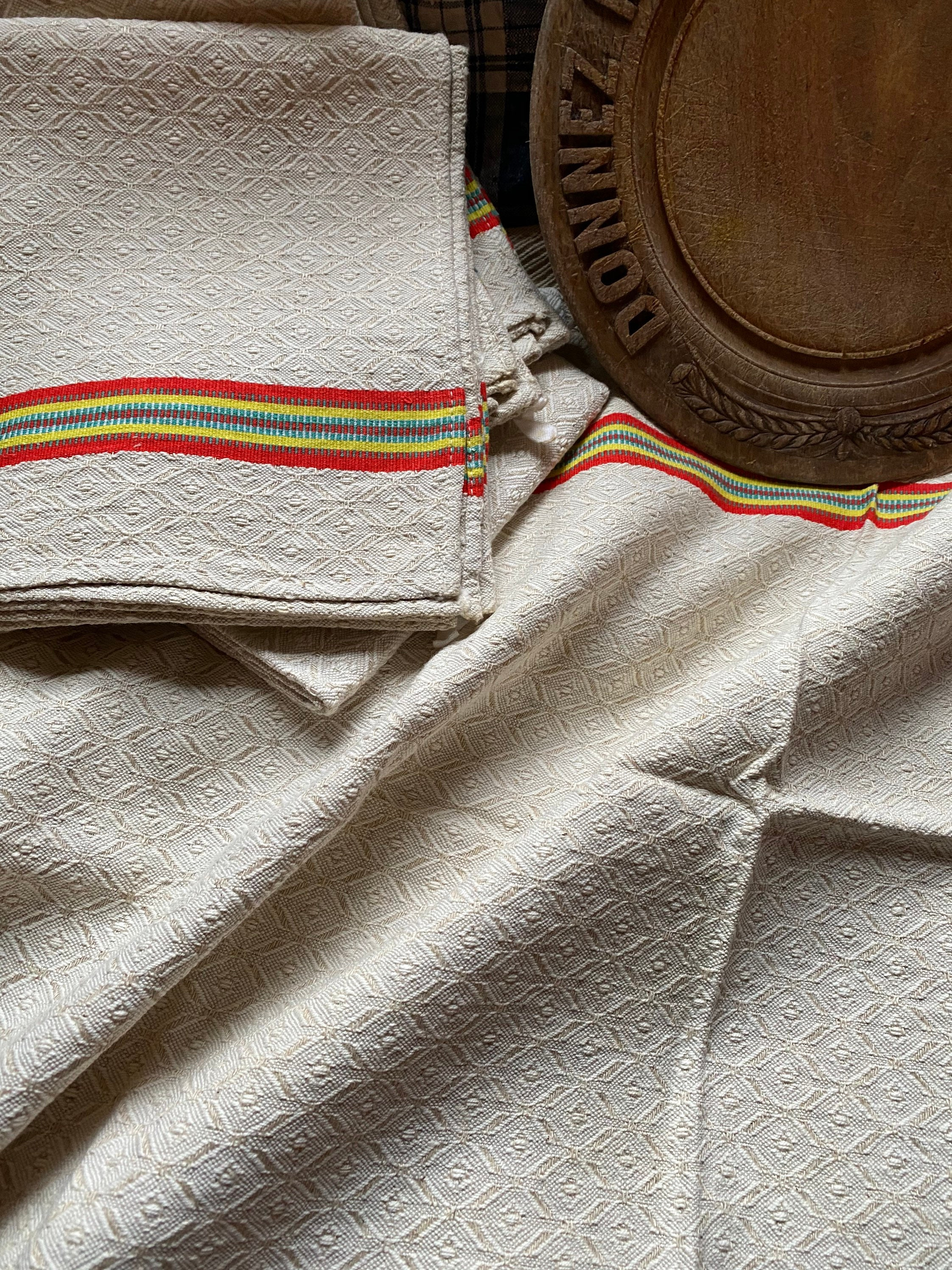 Antique French basque quality linen torchon hemp chanvre tea towel new old  stock shabby chic period stripe design