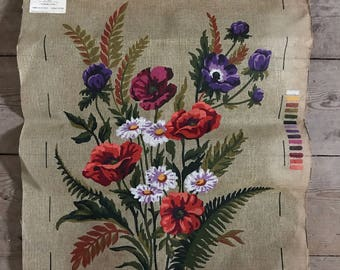 """French Tapestry canvas  upholstery project 18"""" x 23"""" to work fleur des champ"""