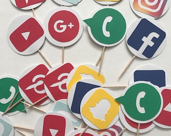 24-pack Social Media Cupcake Toppers, Party Cupcake Toppers