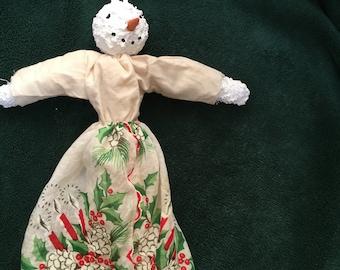 primitive Folk Art Snowlady Snow Angel Ornament Created Over Time