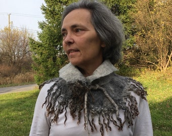Natural Shades of Grey Gray and Black Felted Collar with Locks Created Over Time