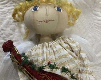 Primitive Folk Art Angel 2 Musical Created Over Time