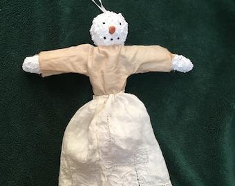 primitive Folk Art Snowlady Snow Angel Created Over Time