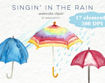 Watercolor Clip Art - Umbrellas,Rain- Personal Use- Instant Download - Puddle - Singing - Splash - Cloudy - Raindrops- Pouring - Colorful