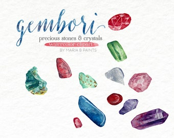 Gemstones Jewels Watercolor Clipart Crystals Ruby Amethyst Turquoise Sapphire Gems Granite Clip Art Graphics Printable Art Instant Download