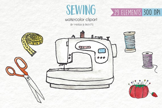Watercolor Clip Art Sewing Personal Use Sewing Machine Etsy Classy Bobbin Pin Sewing Machine