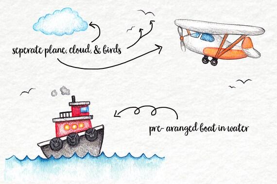 Watercolor Clip Art Planes Trains Automobiles Trucks | Etsy
