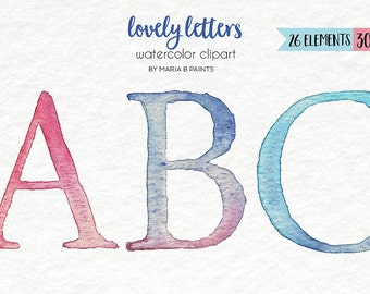 Watercolor Clip Art - Alphabet-Personal Use-Instant Download-Letters-Words-ABC- Font