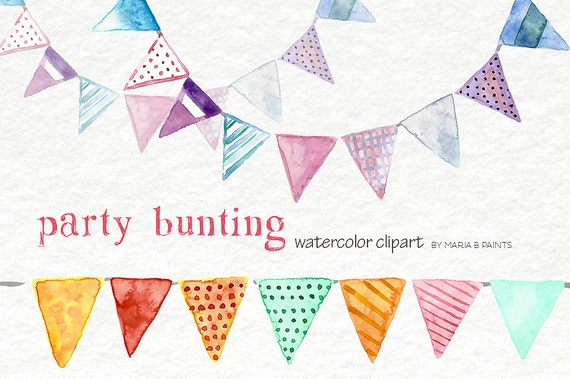 Birthday clip art Festive flags watercolor images Party clipart