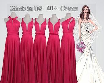 8cce9a4625c Bright pink long bridesmaid dress infinity bridesmaid dress long infinity  dress bridesmaid convertible wrap dress prom dress infinity dress