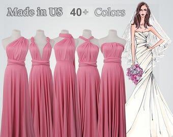 8d2ed77a551 Pink Floor-length infinity dress long bridesmaid dress infinity bridesmaid dress  long infinity dress convertible wrap dress prom dress