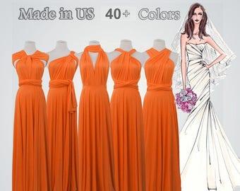0b39876d4d94 Orange long bridesmaid dress infinity bridesmaid dress long infinity dress  bridesmaid convertible wrap dress prom dress long orange dress