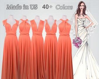 Infinity Dress Twist Dress Infinity Wrap Dress,Multi-way Dress Convertible Dress Coral Pink Bridesmaid Dress Convertible Wrap Dress