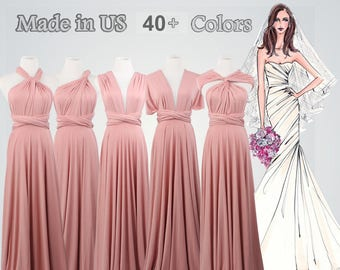 1dce8033a90 Nude pink Floor length Wrap Dress long bridesmaid dress bridesmaid dress  long infinity dress bridesmaid convertible wrap dress