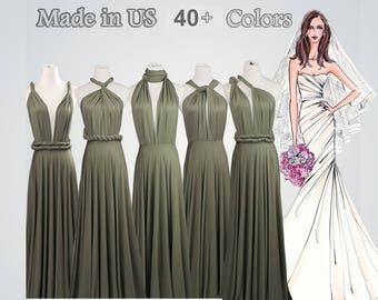 eb6cb58a29f Long bridesmaid dress infinity bridesmaid dress long infinity dress  bridesmaid convertible wrap dress Olive green infinity dress prom dress