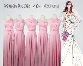 5f3ede92fbe Light Pink Dress long bridesmaid dress infinity bridesmaid dress long  infinity dress bridesmaid convertible wrap dress