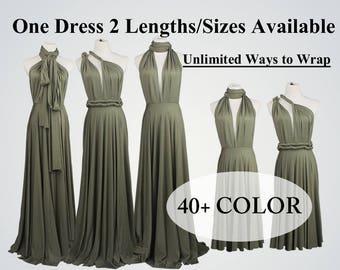 457d32033790 Olive green Bridesmaid Dress long bridesmaid dress short infinity dress  Light olive convertible bridesmaid dress Any occasion dresses