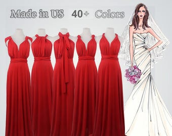 49edeab3dfb0 Ruby red long bridesmaid dress infinity bridesmaid dress long infinity dress  bridesmaid convertible wrap dress, prom dress, long red dress