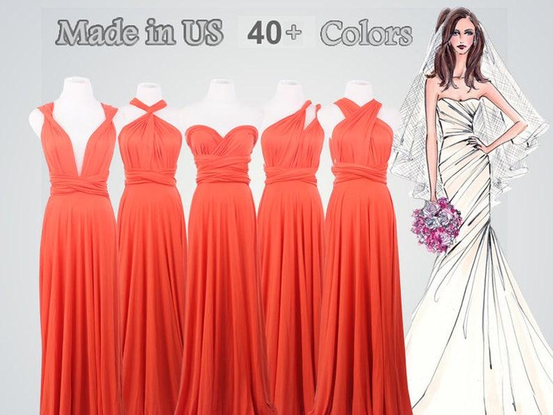a077d372f52b Dark coral long bridesmaid dress infinity bridesmaid dress | Etsy