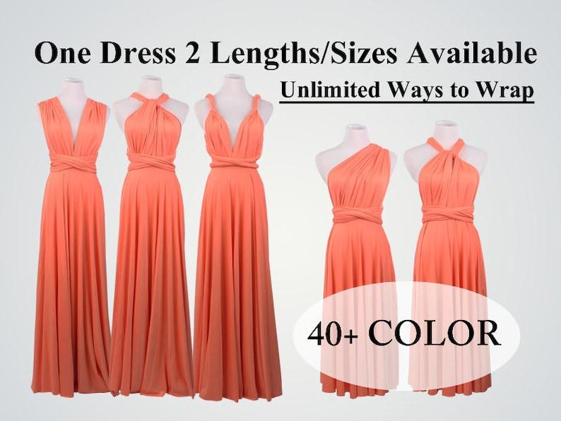 67f8622dcebf Bridesmaid dress coral long infinity dress short convertible | Etsy