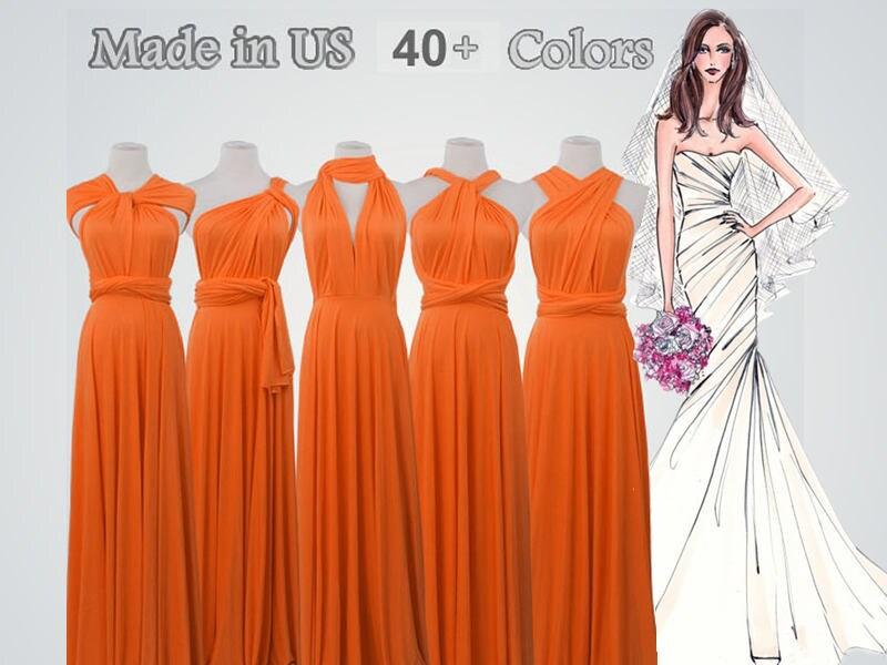 Orange Gown Wedding: Orange Long Bridesmaid Dress Infinity Bridesmaid Dress