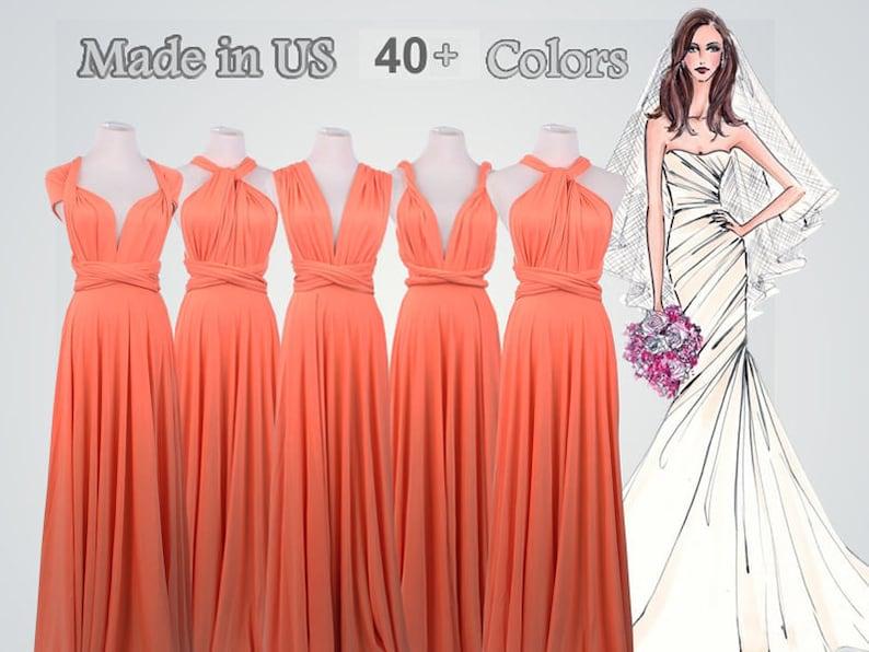 8012538fbc34 Coral Bridesmaid Dress Floor Length Convertible Dress long | Etsy
