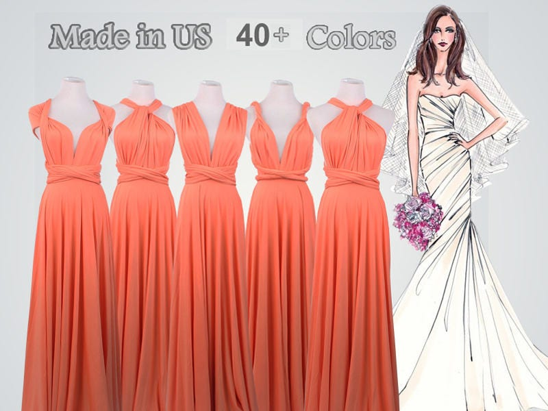 7e4b0075ea9d Coral Bridesmaid Dress Floor Length Convertible Dress long | Etsy