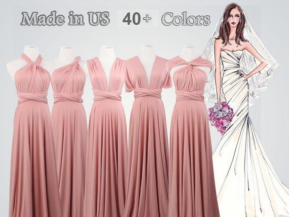 Nude Rose Etage Longueur Envelopper Robe Longue Demoiselle Etsy