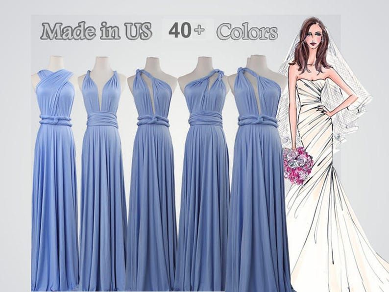 f4deef40d6 Dusty blue dress long bridesmaid dress infinity bridesmaid