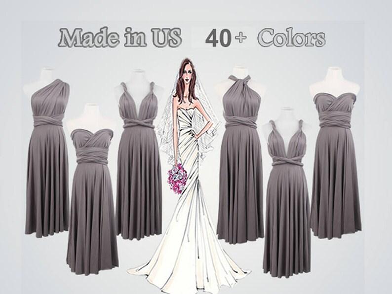 b91850ae530 Dark grey Convertible Wrap Dress short bridesmaid dress short