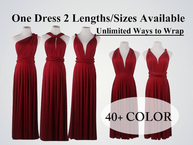 2c930dc6d8 Burgundy Wine Red bridesmaid dress long infinity dress short