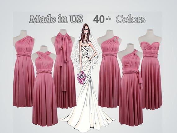 Knee Length Dark Pink Dress short bridesmaid dress short infinity dress convertible dress infinity wrap dress special occasion women dresses