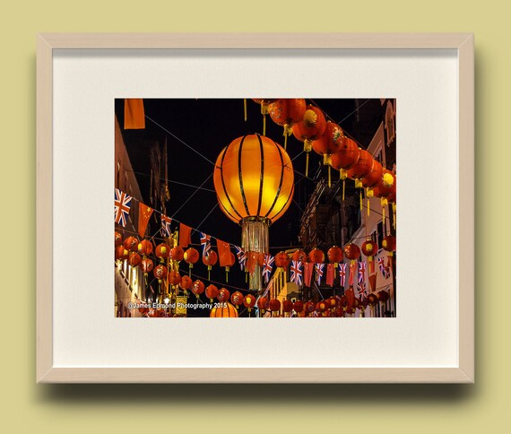 London, Chinatown London, Lanterns, London Photography, Orange Print, Wall Decor, Wall Art, City Photography, Limited Edition. Wall Decor