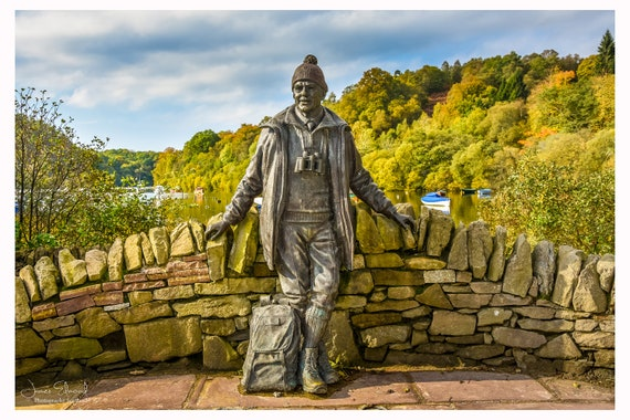 Scotland Photography, Loch Lomond, Tom Weir Statue, Scottish Prints, Scotland Wall Art, Scotland Wall Decor, Historic Scotland, Mountains