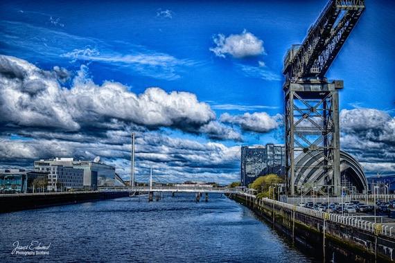 Glasgow, Digital Download, finnieston crane, river, water photography, scotland, scottish photography, wall decor, glasgow landmarks
