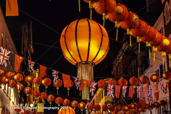 London, Chinatown London, Lanterns, London Photography, Orange Print, Wall Decor, Wall Art, City Photography, Limited Edition. Wall Decor