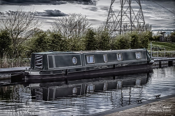 Edinburgh Digital Download, Narrowboat, Barge, Forth and Clyde Canal, Canal photography, Scotland, Falkirk, Edinburgh, Water photography