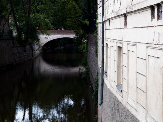 "Prague Photography, Prague Wall Decor, Black, Blue, water, Czech Republic, Gothic Prague, Prague, River Photography, ""Romantic Reflection"""