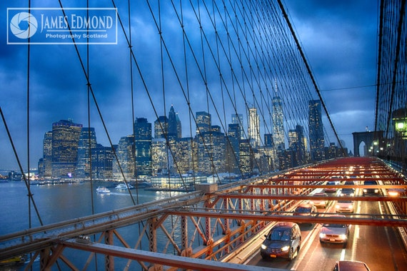 New York Digital Download, Brooklyn Bridge, New York Landscape, fine Art Photography, New York Print, CIty Photography, Cars, Motors, Yellow