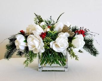 Christmas Flower Arrangements Artificial.Christmas Silk Floral Arrangement In Red Ceramic Decorative