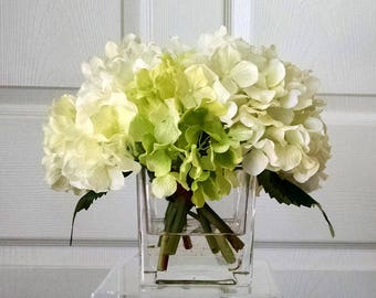 Silk hydrangea etsy real touch hydrangea centerpiece hydrangea centerpiece flower arrangement whitecreamgreen hydrangeas silk faux arrangement fake flowers mightylinksfo