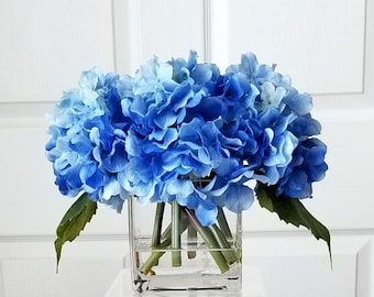 Real touch hydrangea etsy blue real touch hydrangea blue floral arrangement flower arrangement blue hydrangeas silk faux hydrangeas arrangement hydrangea centerpiece mightylinksfo